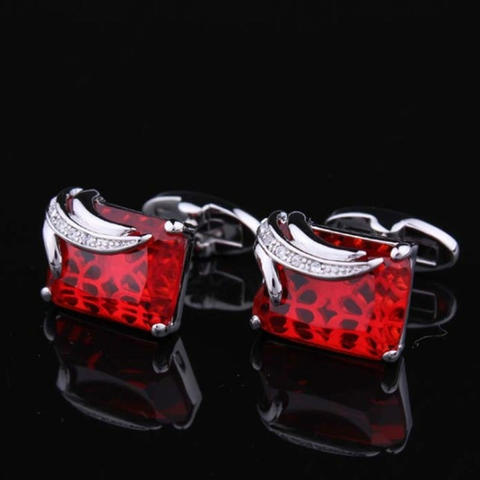 Faceted Ruby Crystal Cufflinks - 5