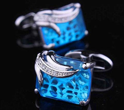Faceted Turquoise Crystal Cufflinks - 5
