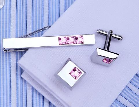 Arkansas - Dark Metal Purple Cufflinks and Tie Clip Set - 5