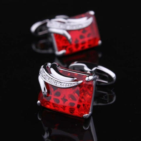 Faceted Ruby Crystal Cufflinks - 6